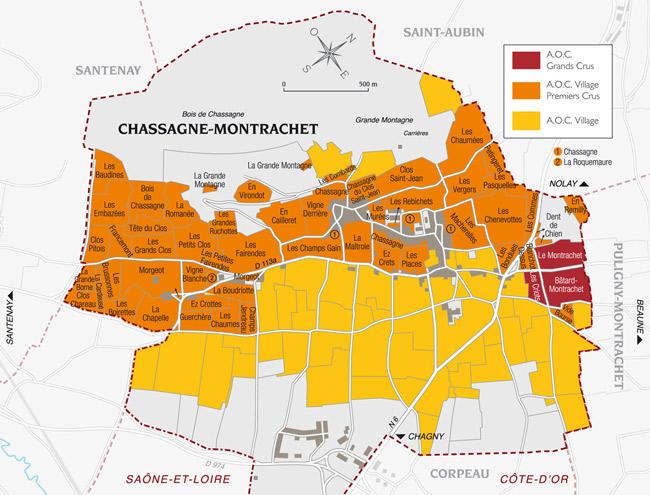 carte appellation et vin chassagne montrachet