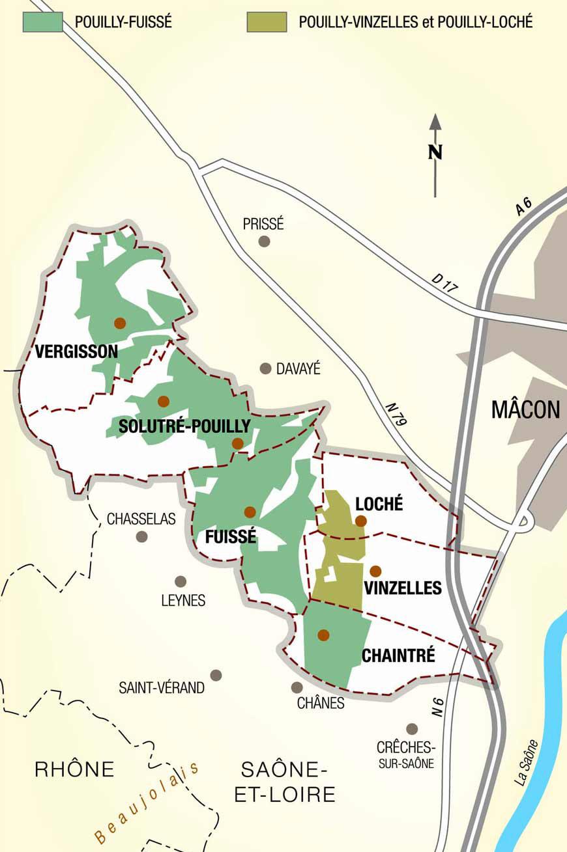 carte vin vigne appellation pouilly fuisse
