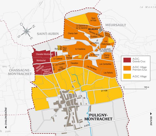 carte vin et appellation puligny montrachet