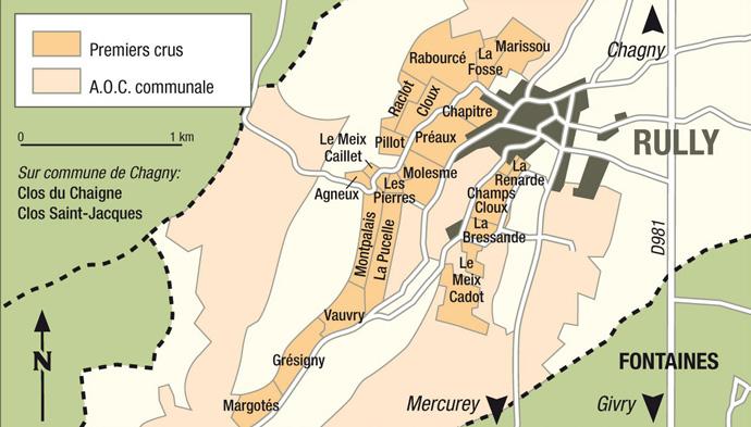 carte des vins de l'appellation rully
