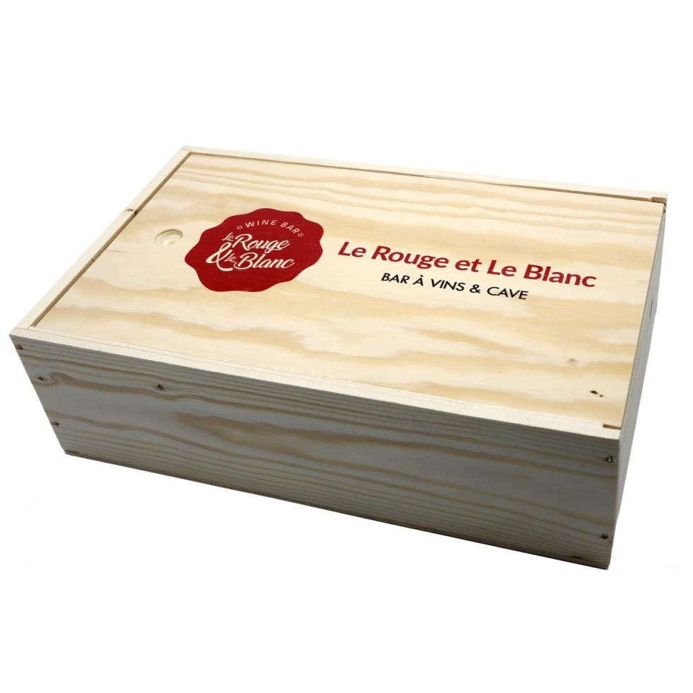 Houten gift box 1 fles