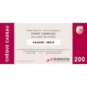 Chèque Cadeau vin 200 €