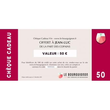 Chèque Cadeau vin 50 €