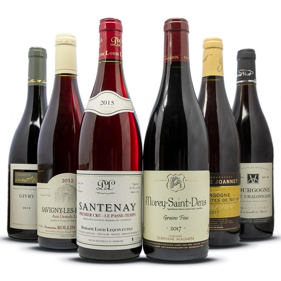 Surtido de vinos tintos de Borgoña