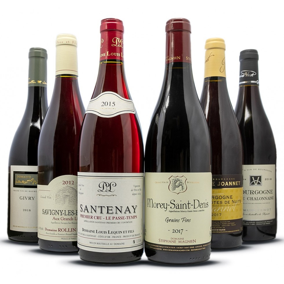 Assortimento di vini rossi della Borgogna