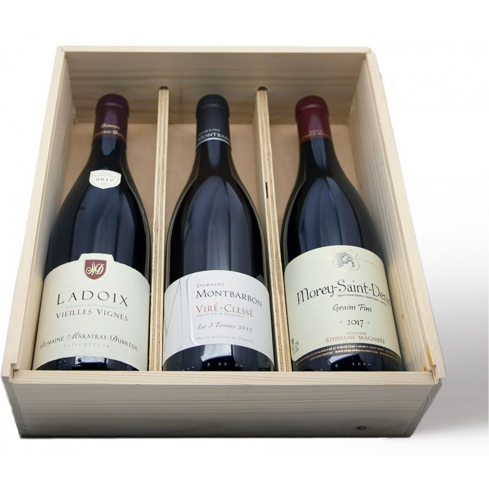 gift box 3 bottle burgundy wine