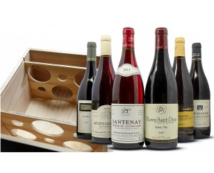 Caja de vino tinto de Borgoña