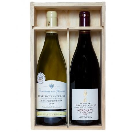 2 grands vins en coffret bois