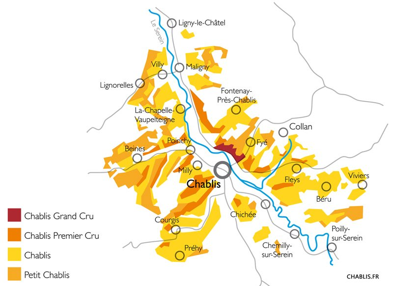 carte vignoble chablis