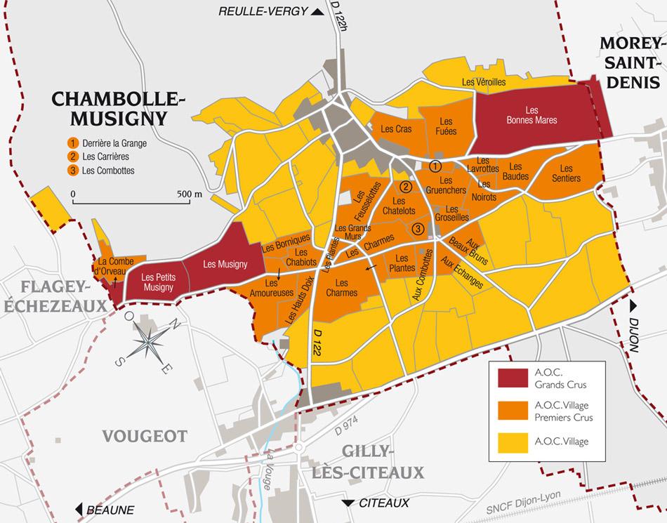 carte vin appellation vignoble bonnes mares grand cru bourgogne
